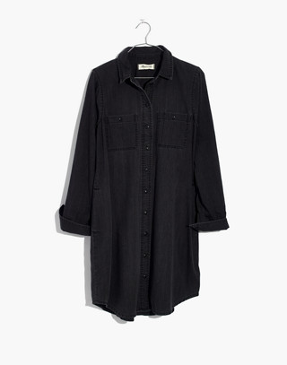 Black Denim Shirtdress in colton wash image 4