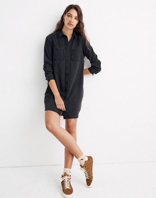 Black Denim Shirtdress in colton wash image 1
