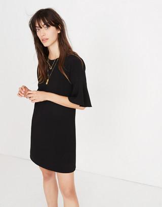 Flutter-Sleeve Mini Dress in true black image 2