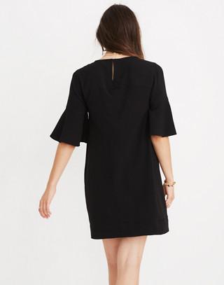 Flutter-Sleeve Mini Dress in true black image 3
