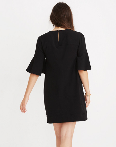 Flutter-Sleeve Mini Dress in true black image 3