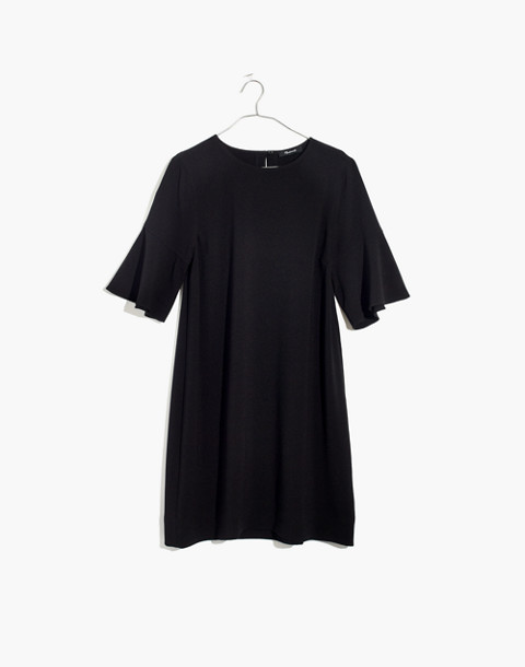 Flutter-Sleeve Mini Dress in true black image 4