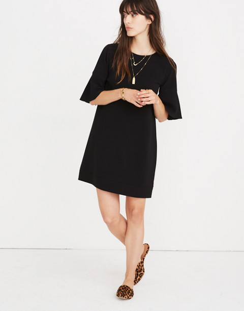 Flutter-Sleeve Mini Dress in true black image 1