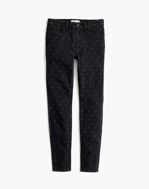 "9"" High-Rise Skinny Jeans: Metallic Dot Edition in glendale wash image 4"