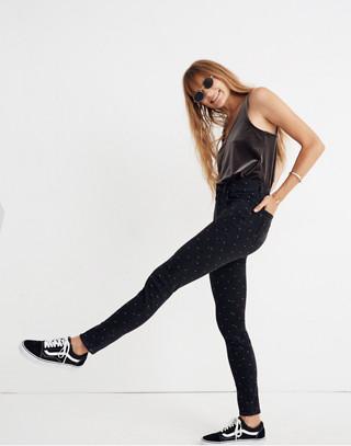 "Tall 9"" High-Rise Skinny Jeans: Metallic Dot Edition"