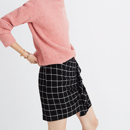 Windowpane Ruffle-Front Skirt