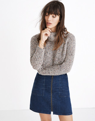 Denim Utility Zip Skirt
