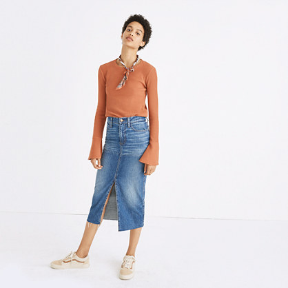 Pre-order Reconstructed Midi Jean Skirt