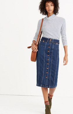 Denim Seamed Button-Front Skirt