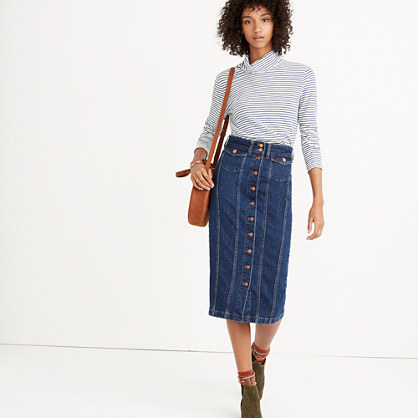 Pre-order Denim Seamed Button-Front Skirt