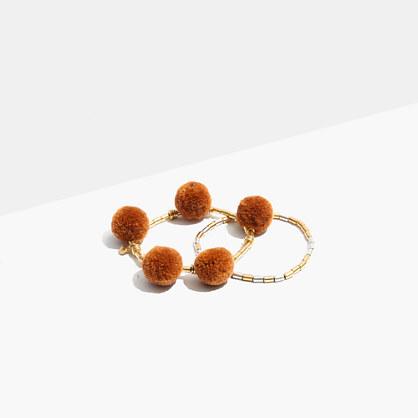 Two-Pack Beaded Pom-Pom Bracelets