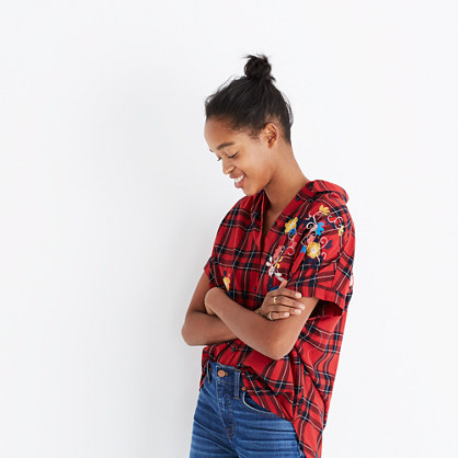 Embroidered Central Shirt in Dahl Plaid