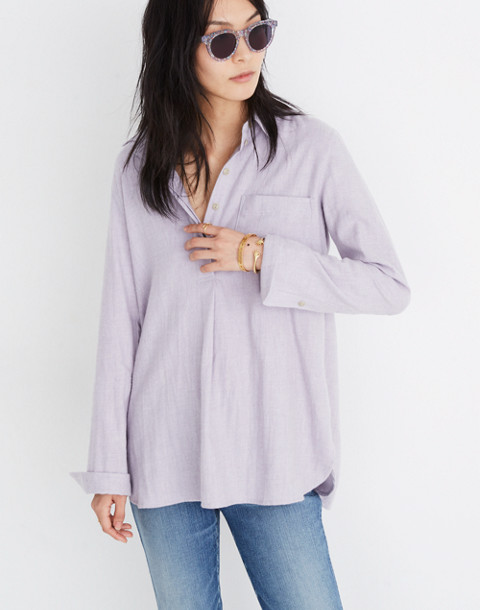Flannel Classic Ex-Boyfriend Button-Back Shirt in hthr thistle image 3
