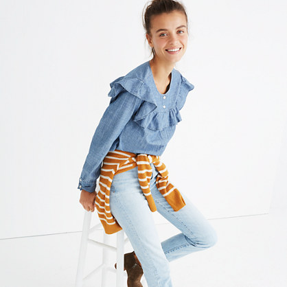 Chambray Ruffle-Yoke Top