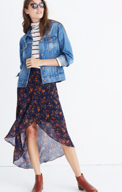 Faux-Wrap Midi Skirt in Climbing Vine