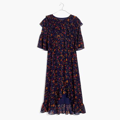Ruffle Midi Dress in Climbing Vine