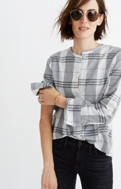 Plaid Collarless Button-Down Shirt