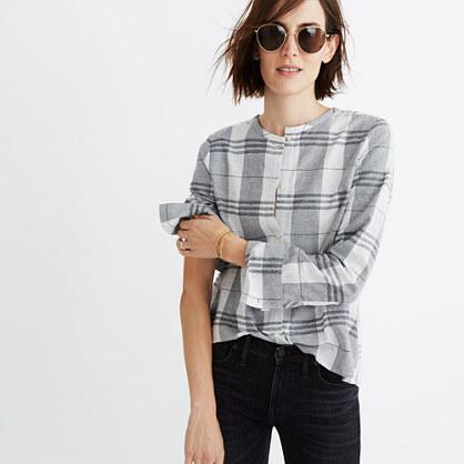 Plaid Collarless Button-Down Shirt