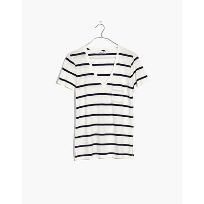Whisper Cotton V-Neck Pocket Tee in Creston Stripe