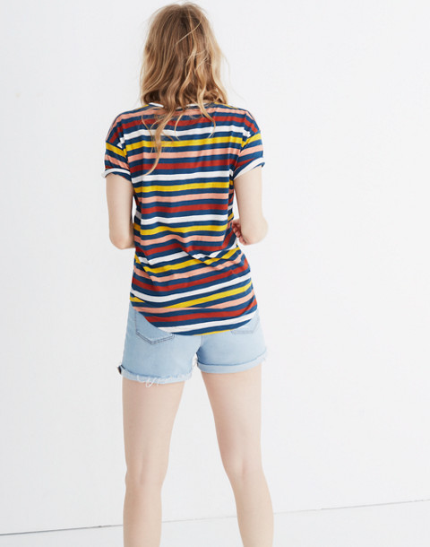 Whisper Cotton Crewneck Tee in Lennie Stripe in blue hematite image 2