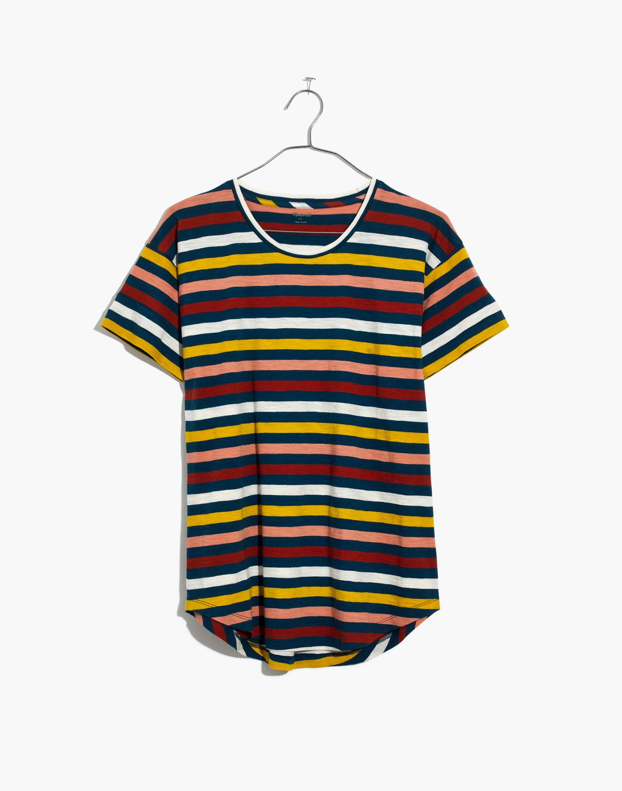 Whisper Cotton Crewneck Tee in Lennie Stripe in blue hematite image 4