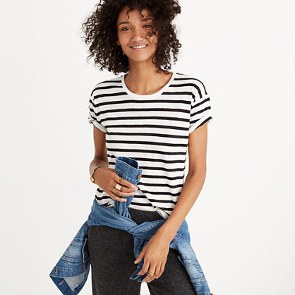 Whisper Cotton Crewneck Tee in Winthrop Stripe