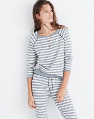 Striped Henley Pajama Top in heather grey image 2