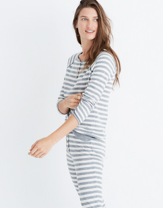 Striped Henley Pajama Top in heather grey image 3