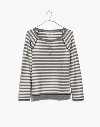 Striped Henley Pajama Top in heather grey image 4