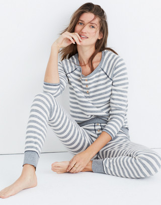 Striped Henley Pajama Top in heather grey image 1
