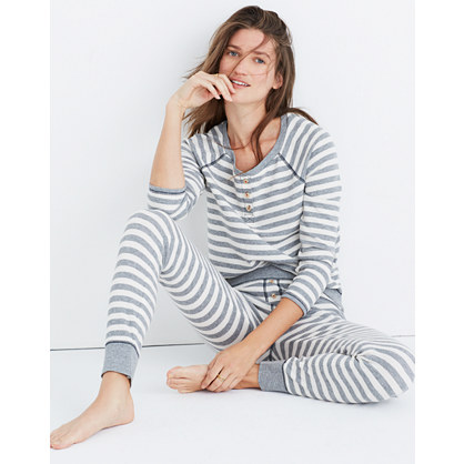 Striped Henley Pajama Top