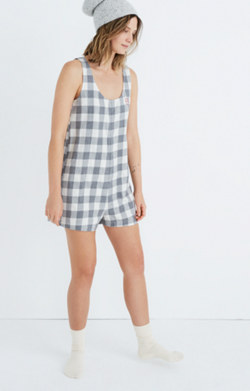 Embroidered Flannel Pajama Romper in Buffalo Check