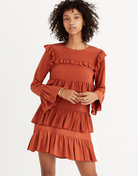 Silk Waterlily Ruffle Dress in burnished rust image 2