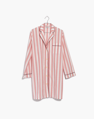 Bedtime Nightshirt in Oxford Stripe in fire image 4