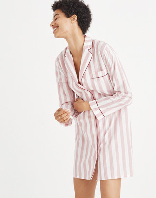 Bedtime Nightshirt in Oxford Stripe in fire image 1