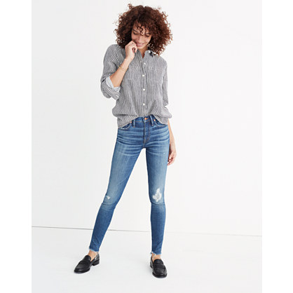 "9"" High-Rise Skinny Jeans in Allegra Wash: Rip and Repair Edition"