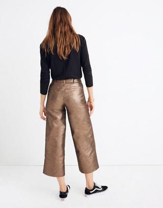 Emmett Wide-Leg Crop Pants in Metallic in metallic sand image 3