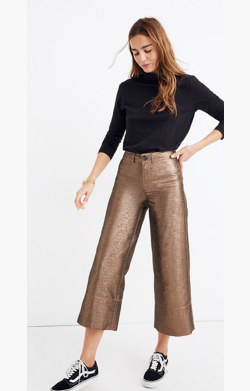 Langford Wide-Leg Crop Pants in Metallic