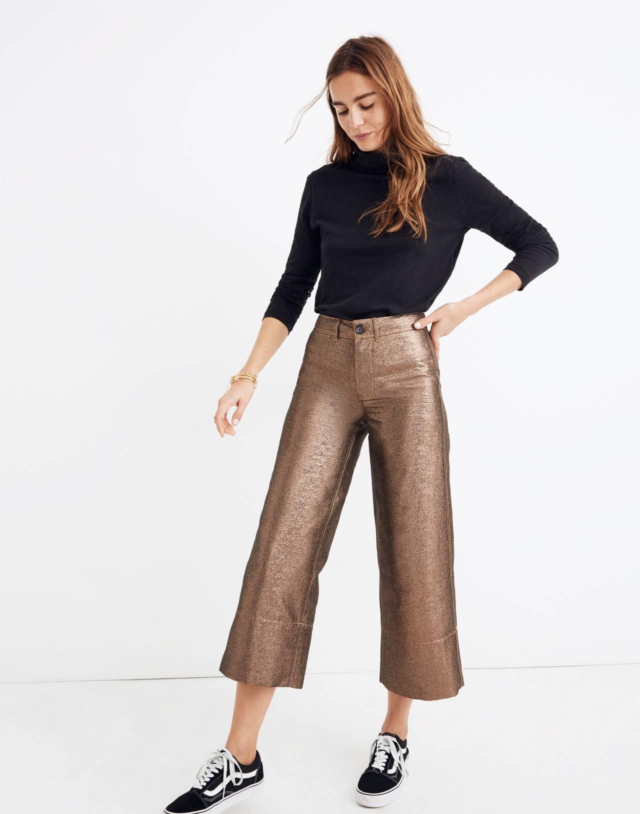 Emmett Wide-Leg Crop Pants in Metallic in metallic sand image 1