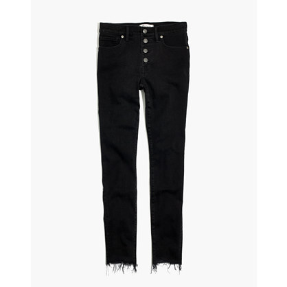 "9"" High-Rise Skinny Jeans in Berkeley Black: Button-Through Edition"