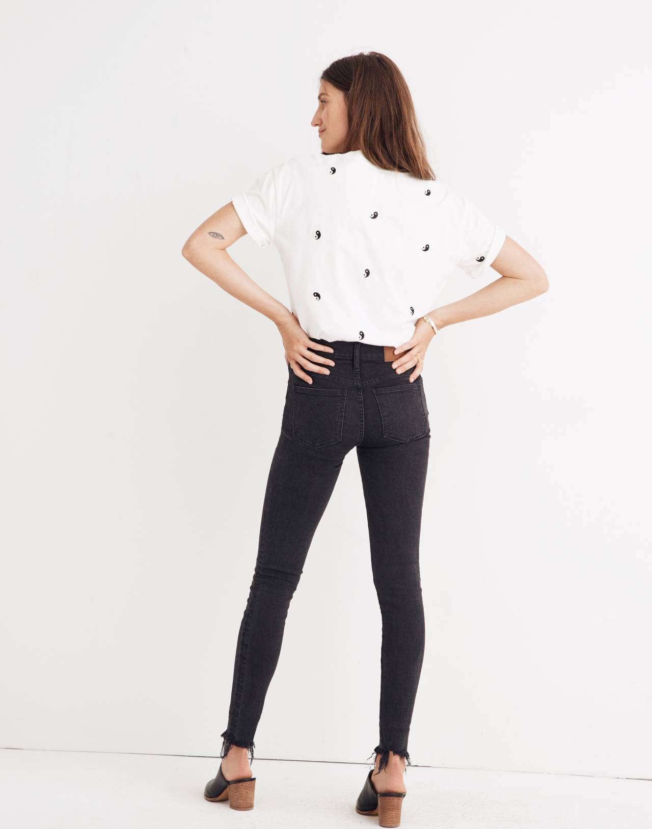 "9"" High-Rise Skinny Jeans in Berkeley Black: Button-Through Edition in berkeley wash image 3"