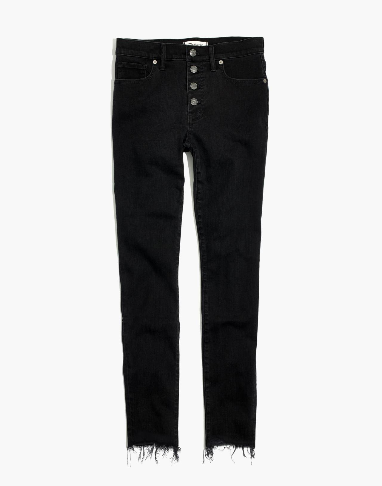 "9"" High-Rise Skinny Jeans in Berkeley Black: Button-Through Edition in berkeley wash image 4"