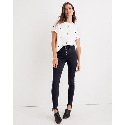 "Taller 9"" High-Rise Skinny Jeans in Berkeley Black: Button-Through Edition"
