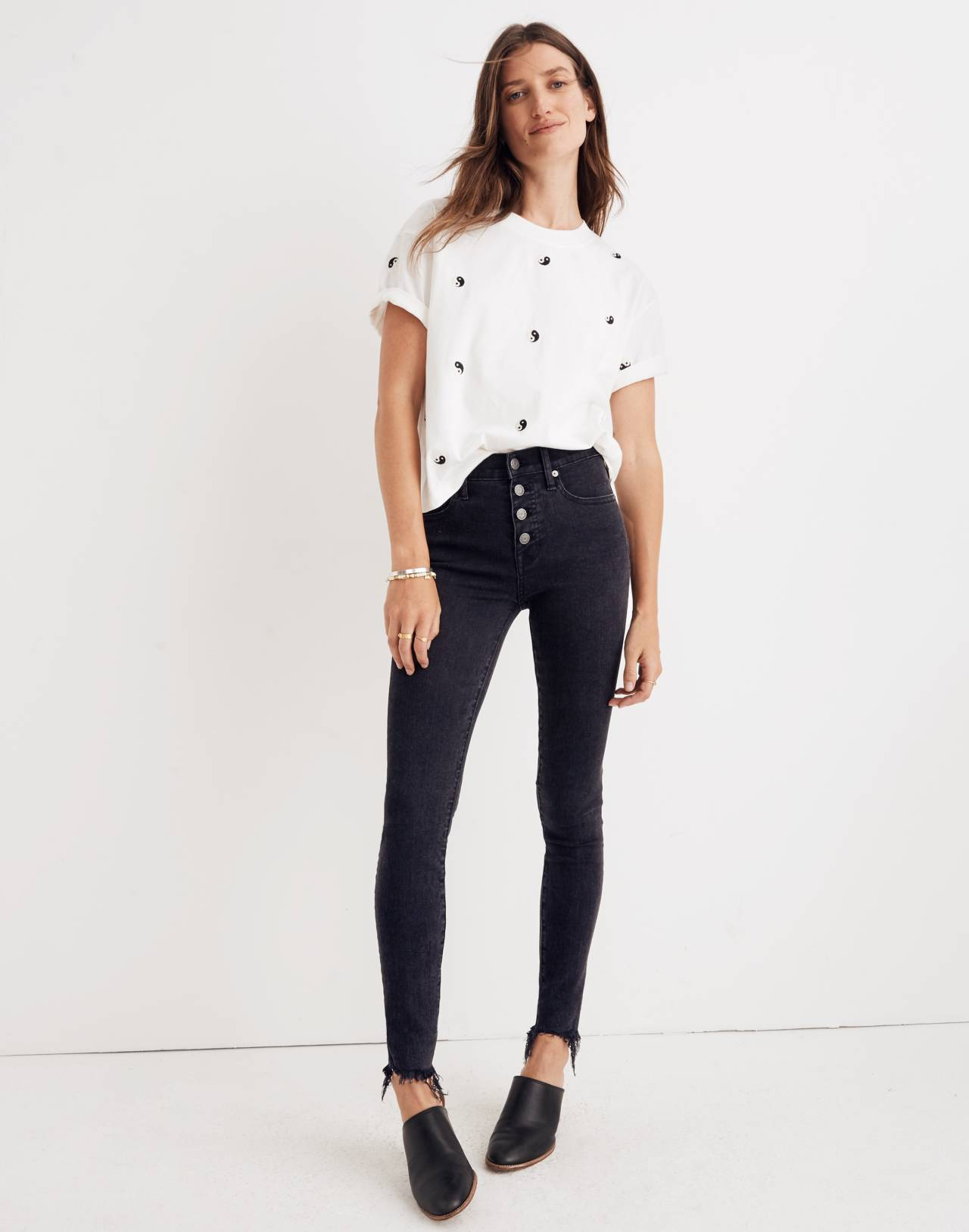 "9"" High-Rise Skinny Jeans in Berkeley Black: Button-Through Edition in berkeley wash image 1"