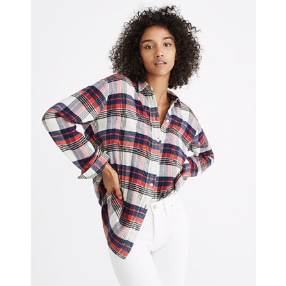 Oversized Ex-Boyfriend Shirt in Baker Plaid