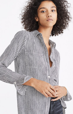 Flannel Classic Ex-Boyfriend Shirt in Fisk Stripe