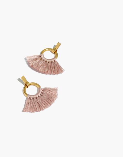 Tassel Hoop Earrings in peach blush image 1