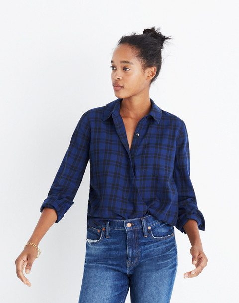 Wrap-Front Shirt in Arion Plaid