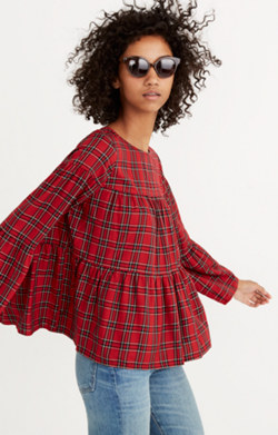 Plaid Tiered Button-Back Top