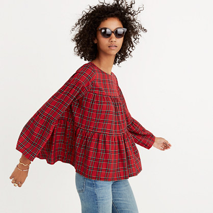 Pre-order Plaid Tiered Button-Back Top